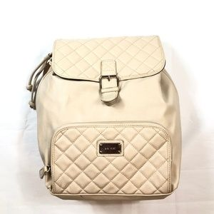 Nine West Ivory Quilted Leather Backpack